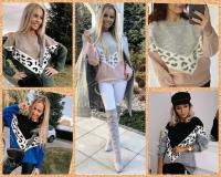 Вязаный свитер вставка леопард DN