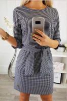 Платье с поясом гусиная лапка Rh122