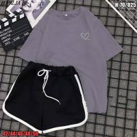 Костюм шорты и футболка тем-серая сердечко SV