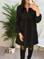 Платье барби колокольчик с вырезом черное O114
