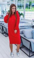 Платье-туника с капюшоном красная OP37