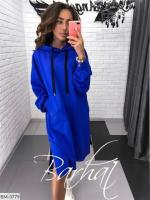 Туника-платье на флисе с карманом кенгуру ярко-синяя UM37