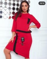 Костюм трикотажный юбка и кофта Красный RH06