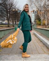 Костюм тройка утепленный жилет толстовка и брюки зеленый KH110