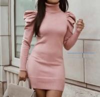 Платье-водолазка лапша розовое UM43