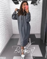 Туника-платье на флисе с карманом кенгуру темно-серая UM37