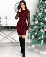 Платье гирюр сетка трикотаж бордо H109