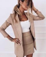 Костюм спандекс пиджак и юбка светлый беж K115
