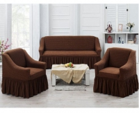Натяжные чехлы на мягкую мебель диван и 2 кресла 04 шоколад
