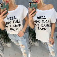 Свободная футболка SIZE PLUS Hell was full so I came back белая IN