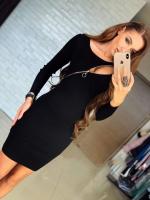 Платье косая молния черное DK124
