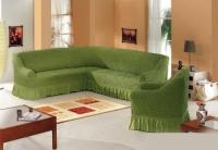 Комплект чехлов на мебель угловой диван и кресло оливка