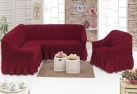 Комплект чехлов на мебель угловой диван и кресло бордо