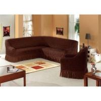 Комплект чехлов на мебель угловой диван и кресло шоколад