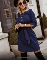 Платье с поясом тем-синее Rh122