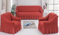 Натяжные чехлы на мягкую мебель диван и 2 кресла кирпичный