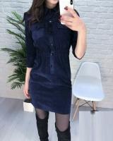 Платье вельвет прямое с кармашками синее A133