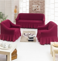 Натяжные чехлы на мягкую мебель диван и 2 кресла бордо