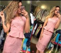 Костюм кружево топ с баской и юбка pink LE