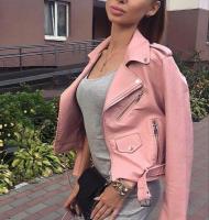 Куртка экокожа с кармашком и ремнем pink ZI