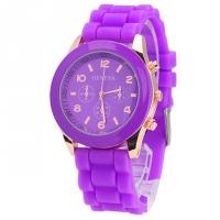 Часы с силиконовым ремешком Geneva purple