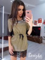 Платье люрекс с пояском гипюр по низу светлое золото KH110  O114