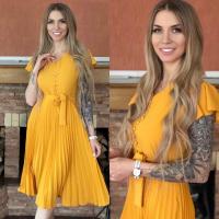 Платье лайт плиссерованный низ желтое RH122