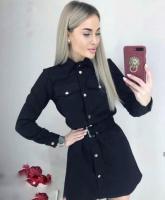 Платье спандекс с ремешком черный KH110