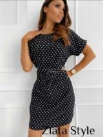 Платье софт в горошек с сумочкой черное KH110
