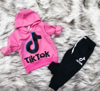 Детский костюм с капюшоном TTOK с розовой кофтой Xi