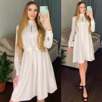 Платье атласное с поясом белое RH122