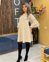 Платье SIZE PLUS рукав гипюр бежевое N107