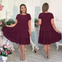 Платье колокольчик Size Plus бордо RX1-48