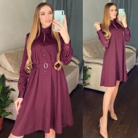 Платье атласное с поясом бордо RH122