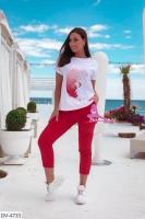 Трикотажный костюм футболка перо и брюки красные X105