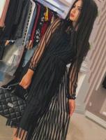 Платье верх фатин полоса черное KH110