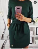 Платье с поясом тем-зеленое Rh122