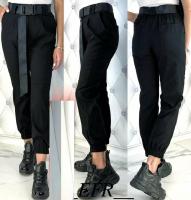 Стильные брюки с поясом черные A133 K135