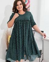 Платье SIZE PLUS рубчик в горошек зеленое RH106 4-92 114