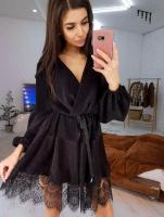 Платье люрекс верх на запах с поясом гипюр по низу черное KH110  O114