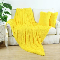 Меховой плед 220×240 yellow