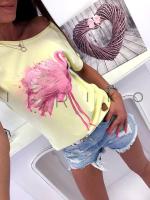 Футболка розовый фламинго желтая NU