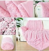 Меховой плед 220×240 pink