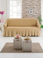Чехол на трехместный диван медовый