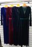 Платье длинное велюр Темно-синее OP37
