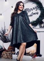 Платье SIZE PLUS колокольчик люрекс черное IS122