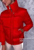 Куртка стойка ворот на молнии красная ZI
