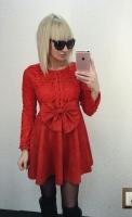 Платье под замшу с бантом на поясе red