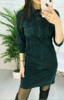 Платье вельвет прямое с кармашками зеленое A133 115
