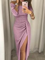 Платье миди люрекс розовое X118